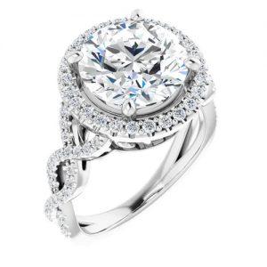 14K White 1.37 Carat Round Infinity-Inspired Halo-Style Engagement Ring