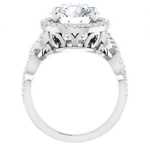 14K White 1.37 Carat Round Infinity-Inspired Halo-Style Engagement Ring Image 2