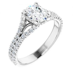 14K White 1.5 Carat Round Diamond Semi-Set Engagement Ring