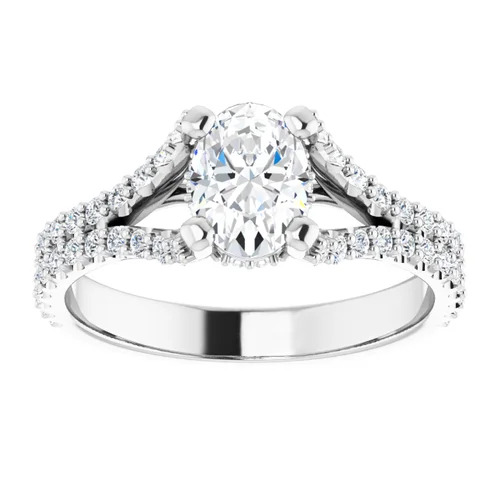 14K White 1.5 Carat Round Diamond Semi-Set Engagement Ring Image 2