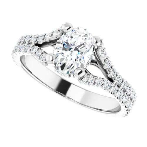 14K White 1.5 Carat Round Diamond Semi-Set Engagement Ring Image 4
