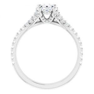 14K White 1.5 Carat Round Diamond Semi-Set Engagement Ring Image 5
