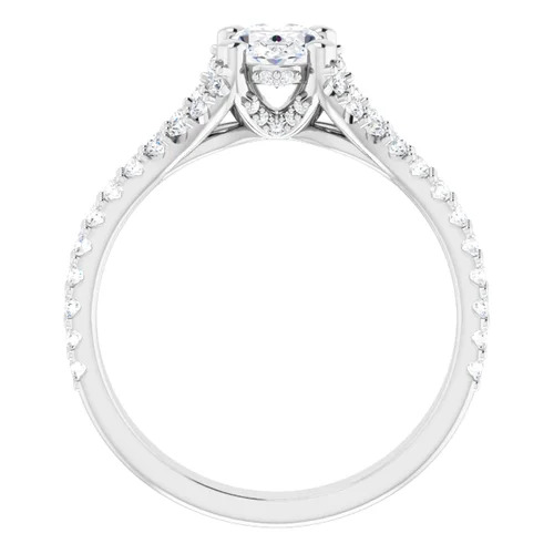 14K White 1.5 Carat Round Diamond Semi-Set Engagement Ring Image 5
