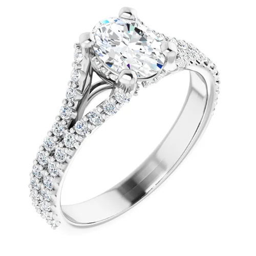 14K White 1.5 Carat Round Diamond Semi-Set Engagement Ring