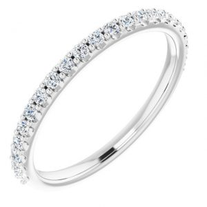 14K White Gold 0.374 Carat Diamond Semi-Set Round Engagement Ring Matching Band