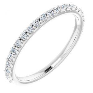 14K White Gold 0.374 Carat Diamond Semi-Set Round Engagement Ring Matching Band