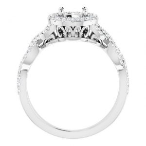 14K White Gold 0.378 Carat Diamond Semi-Set Halo-Style Engagement Ring