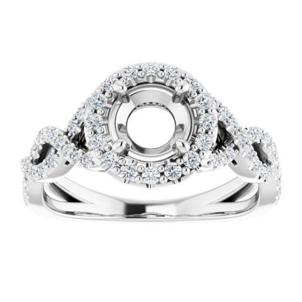 14K White Gold 0.378 Carat Diamond Semi-Set Halo-Style Engagement Ring