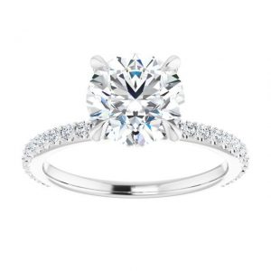 14K White Gold 1.33 Carat Diamond & Round Moissanite Engagement Ring 2