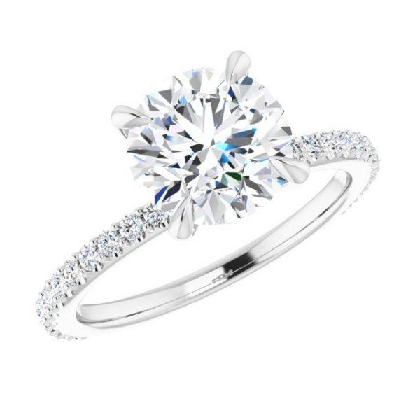 14K White Gold 1.33 Carat Diamond & Round Moissanite Engagement Ring 4