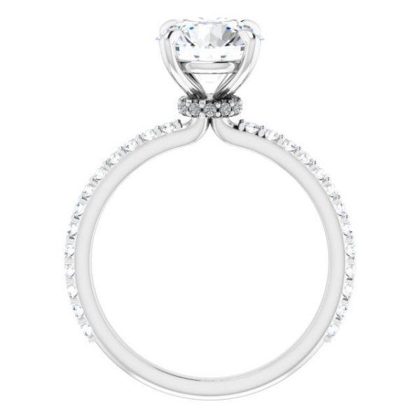 14K White Gold 1.33 Carat Diamond & Round Moissanite Engagement Ring 5