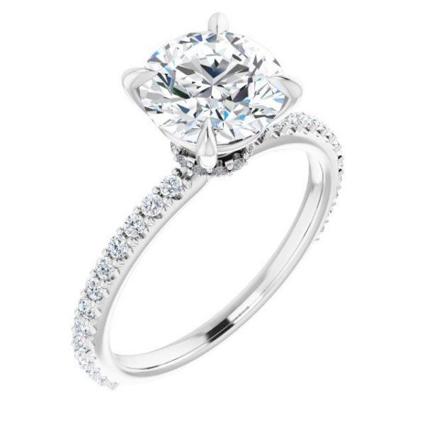 14K White Gold 1.33 Carat Diamond & Round Moissanite Engagement Ring