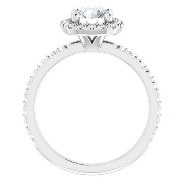 14K White Gold 1.5 Carat Round Moissanite Halo-Style Engagement Ring 2