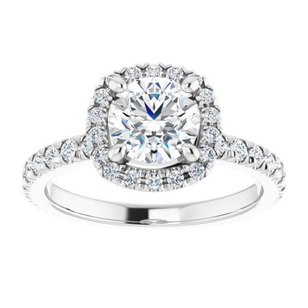 14K White Gold 1.5 Carat Round Moissanite Halo-Style Engagement Ring 3