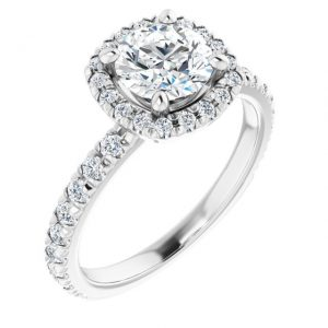 14K White Gold 1.5 Carat Round Moissanite Halo-Style Engagement Ring