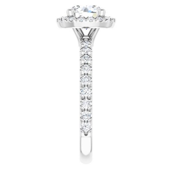 14K White Gold 1.5 Carat Round Moissanite Halo-Style Engagement Ring 4