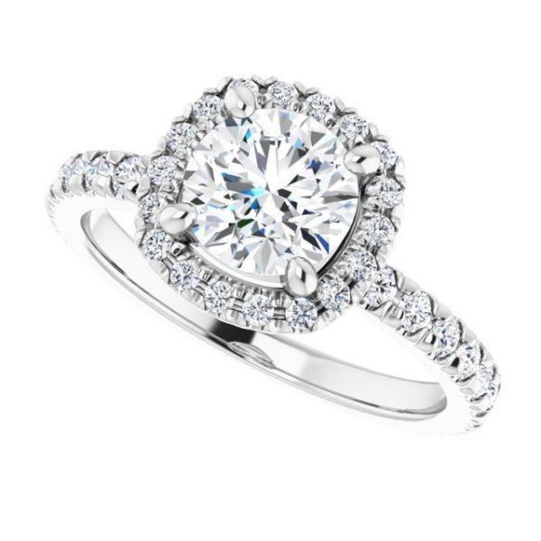 14K White Gold 1.5 Carat Round Moissanite Halo-Style Engagement Ring 5