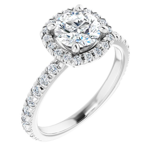 14K White Gold 1.5 Carat Round Moissanite Halo-Style Engagement Ring