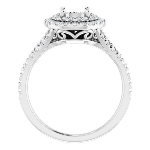 14K White Gold 12 CTW Diamond Semi-Set French-Set Halo-Style Engagement Ring