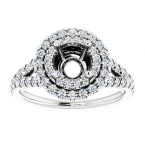 14K White Gold 12 CTW Diamond Semi-Set French-Set Halo-Style Engagement Ring