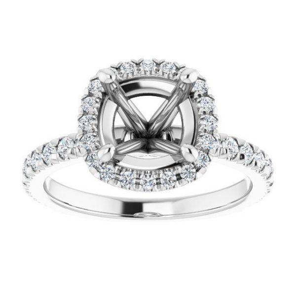 14K White Gold 12 CTW Diamond Semi-Set Halo-Style Engagement Ring