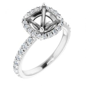 14K White Gold 12 CTW Diamond Semi-Set Halo-Style Engagement Ring