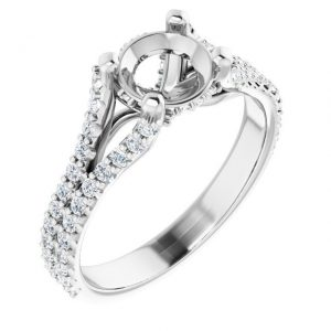 14K White Gold 12 CTW Semi-Set Diamond Cathedral Engagement Ring