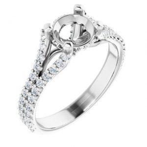 14K White Gold 12 CTW Semi-Set Diamond Cathedral Engagement Ring
