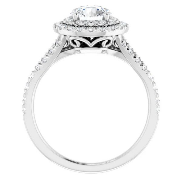 14K White Gold Round 12 CTW Moissanite French-Set Halo-Style Engagement Ring 2