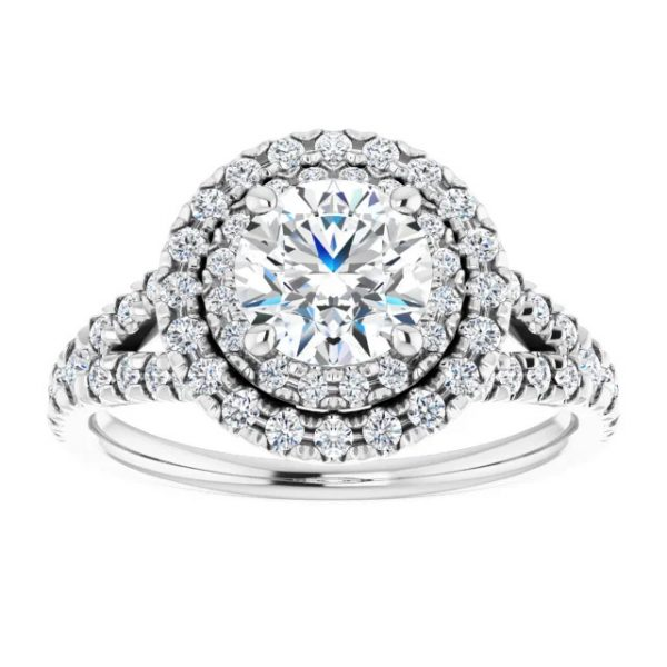 14K White Gold Round 12 CTW Moissanite French-Set Halo-Style Engagement Ring 3