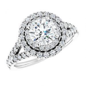 14K White Gold Round 12 CTW Moissanite French-Set Halo-Style Engagement Ring 5