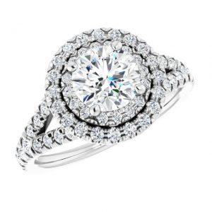 14K White Gold Round 12 CTW Moissanite French-Set Halo-Style Engagement Ring 5