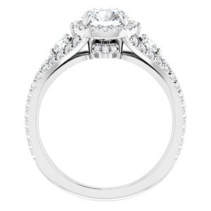 14K White Gold Round 2 Carat Moissanite French-Set Halo-Style Engagement Ring 2