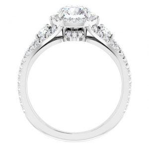 14K White Gold Round 2 Carat Moissanite French-Set Halo-Style Engagement Ring 2