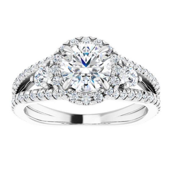 14K White Gold Round 2 Carat Moissanite French-Set Halo-Style Engagement Ring 3