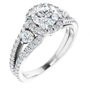 14K White Gold Round 2 Carat Moissanite French-Set Halo-Style Engagement Ring