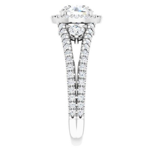 14K White Gold Round 2 Carat Moissanite French-Set Halo-Style Engagement Ring 4