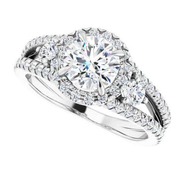 14K White Gold Round 2 Carat Moissanite French-Set Halo-Style Engagement Ring 5