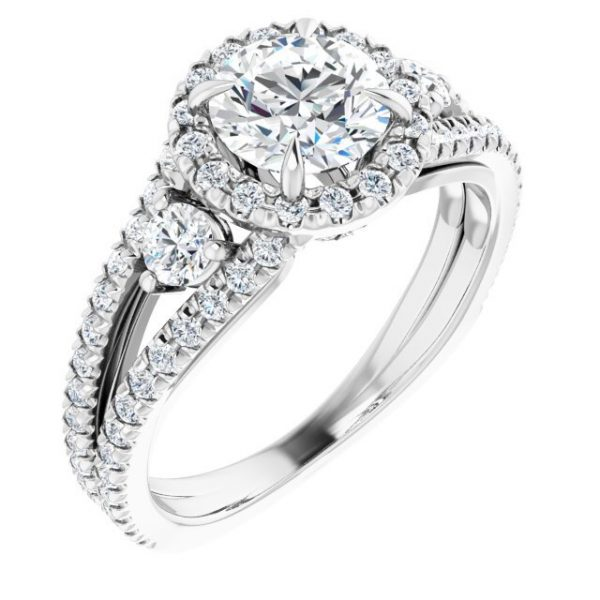 14K White Gold Round 2 Carat Moissanite French-Set Halo-Style Engagement Ring