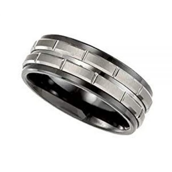 Ceramic & Tungsten 8 mm Black Ceramic Couture Band Ring