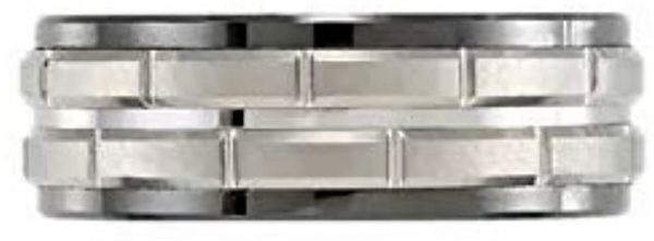 Ceramic & Tungsten 8 mm Black Ceramic Couture Band Ring Image 3