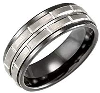 Ceramic & Tungsten 8 mm Black Ceramic Couture Band Ring Image 4
