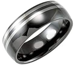 Ceramic & Tungsten 8 mm Ceramic Couture Domed Band Ring