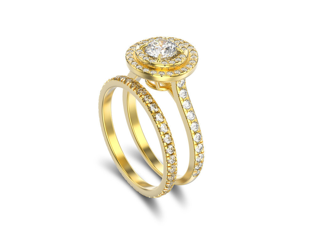 Gold Matching Engagement & Wedding Ring