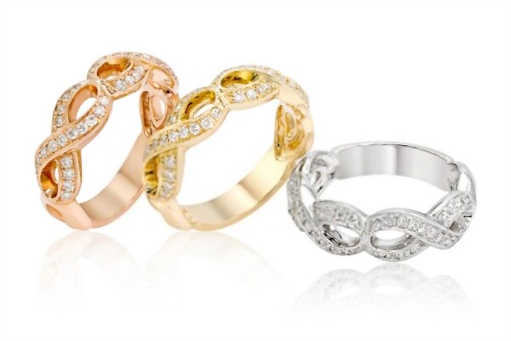 Infinity Gold Diamond Wedding Band