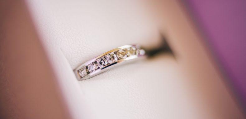 Scattered Diamond Wedding Band